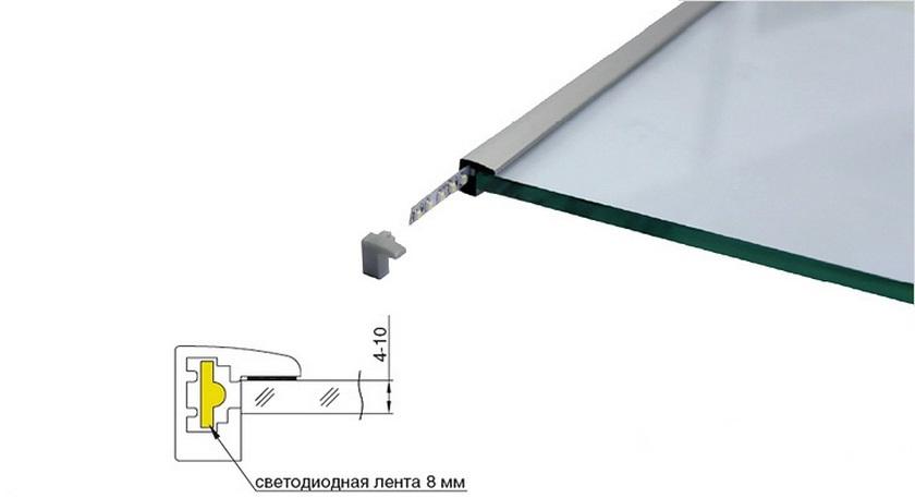 Профиль для led подсветки стеклянных полок.